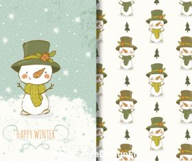 Cartoon snowman illustrations background vector