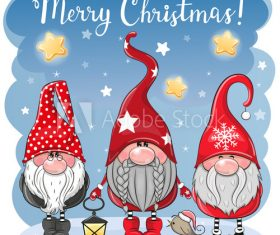 Cartoon three gnome christmas greeting card vector