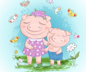 Cartoon two pigs with flowers vector