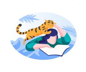 Cat and reading book cartoon vector