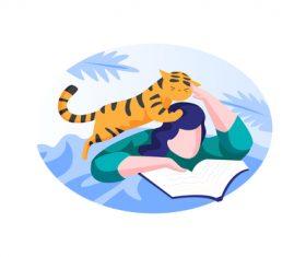 Cat and reading book cartoon vector