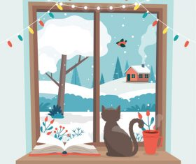 Cat on windowsill cartoon vector illustration