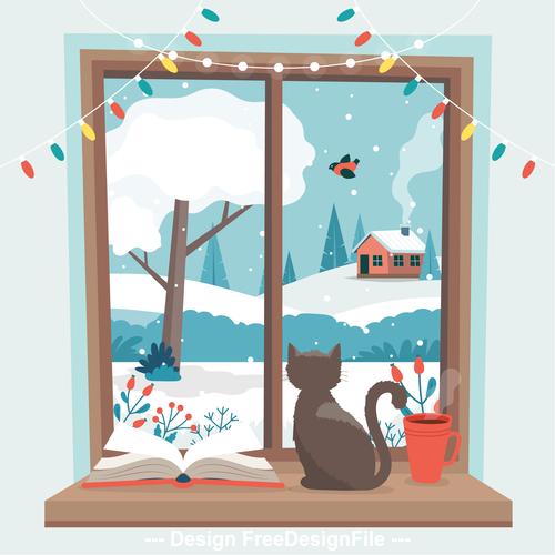 Cat on windowsill cartoon vector illustration