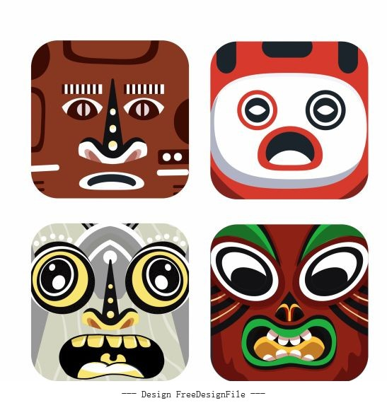 Characters masks templates colorful square emotional vector design