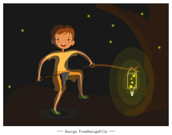 Childhood background boy firefly cartoon vector