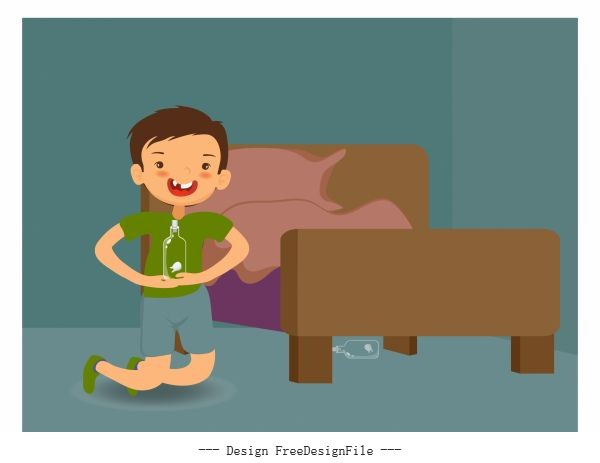 Childhood background playful boy bedroom cartoon illustration vector