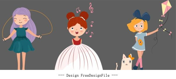 Childhood girls icons cute cartoon characters vector