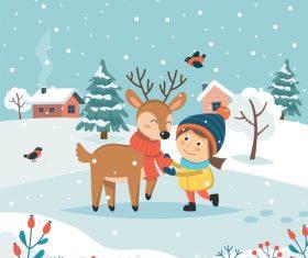 Children and elk cartoon vector illustration