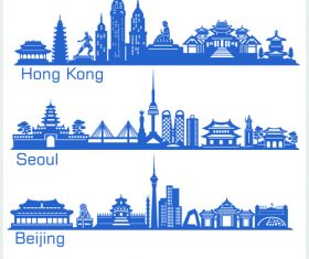 China cities building silhouette vector