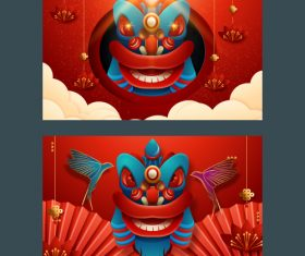 Chinese lion dance new year greeting card banner vector