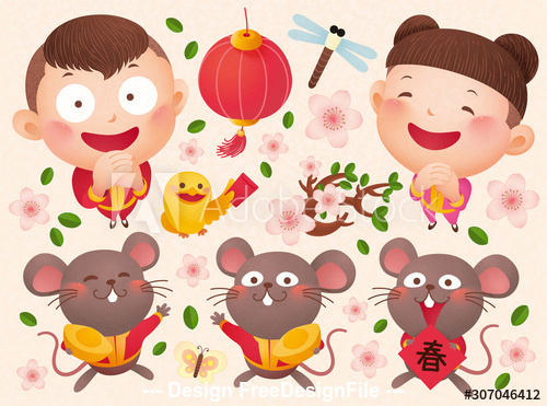Chinese style new year poster illustration vector