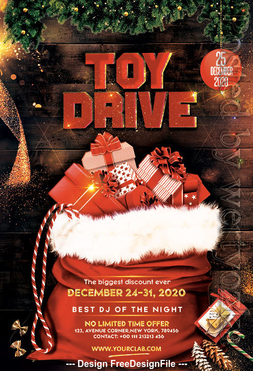 Christmas Toy Drive Flyer PSD Template