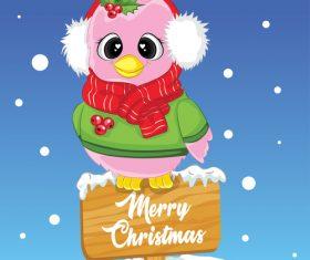 Christmas animal greeting card vector