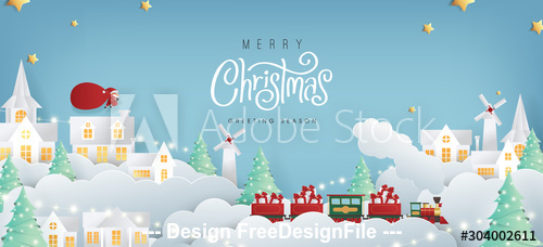 Christmas background card paper cut vector