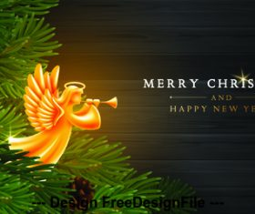 Christmas background with angels and holly card vector