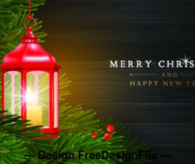 Christmas background with lights and holly card vector