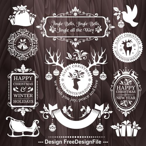 Christmas badges white frame background vector