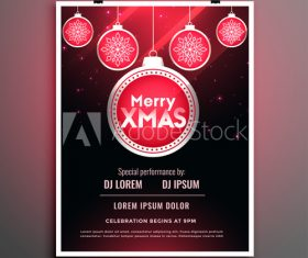 Christmas ball decoration 2020 Christmas cover flyer template design vector