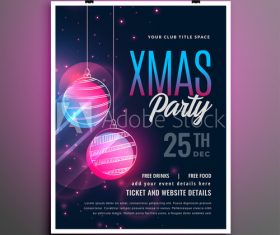 Christmas ball decoration cover party flyer template design vector