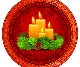 Christmas candle card vector