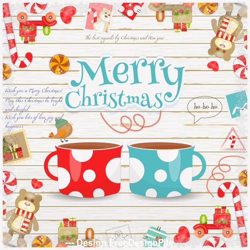 Christmas card coffee vector