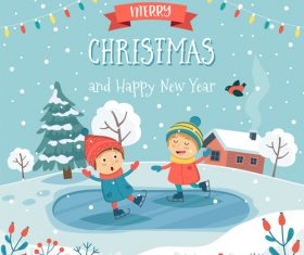 Christmas childrens fun cartoon illustration vector