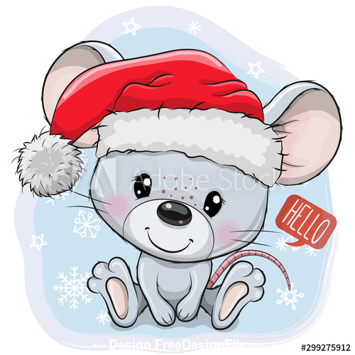 Christmas Cute Rat Vector Free