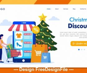 Christmas discount internet technology vector