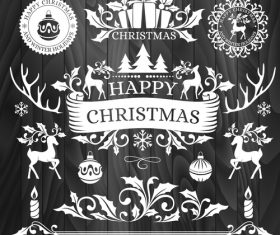 Christmas element new year greeting card vector