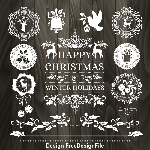 Christmas elements Badges whiteand black wooden background vector