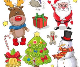 Christmas elements cartoon collection vector