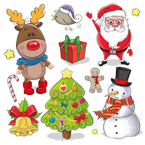 Christmas elements cartoon collection vector