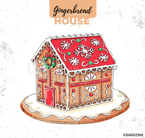 Christmas elements decoration gingerbread house hand drawn illustration vector