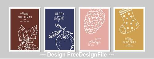 Christmas elements greeting card collection vector