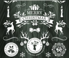 Christmas elements on wooden background vector