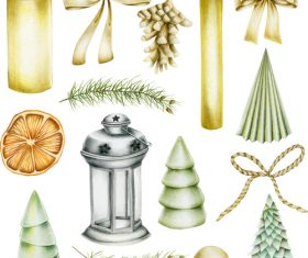 Christmas elements watercolor vintage vector