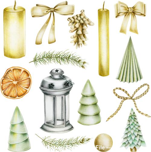 Christmas elements watercolor vintage vector