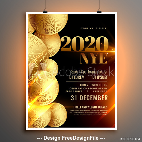 Christmas fashion party flyer template design vector