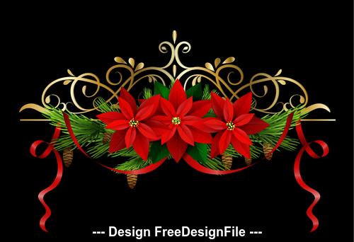 Christmas flowers decorative elements vector