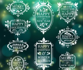 Christmas frame badges white greeting card vector