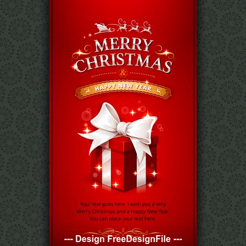 Christmas gift box greeting card cover vector