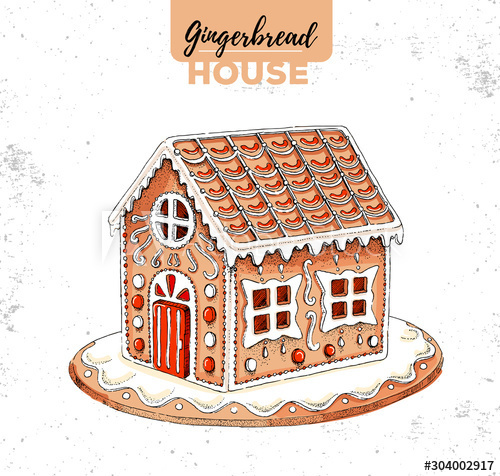Christmas gingerbread house hand drawn illustration vector