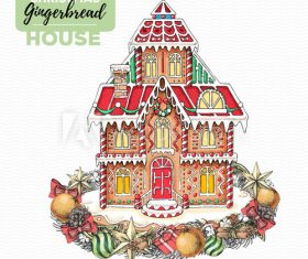 Christmas gingerbread villa handmade illustration vector
