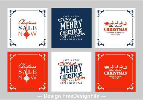 Christmas greeting card vector Set bundle