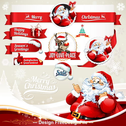 Christmas old man red label vector
