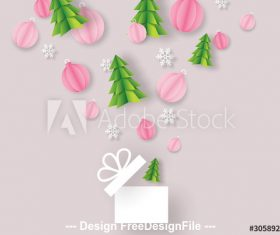 Christmas origami gift box vector