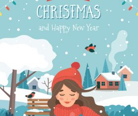 Christmas outdoor girl cartoon vector illustration