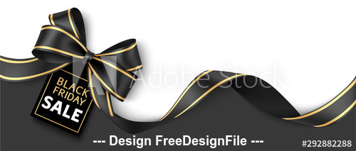 Christmas sale design template black bow decoration vector