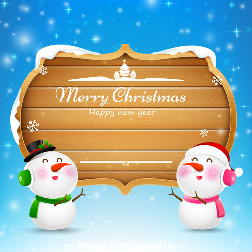 Christmas snowman and snowgirl wooden sign with text merry christmas vector