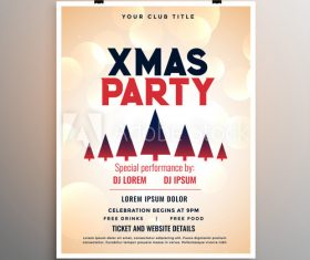 Christmas tree background party flyer vector